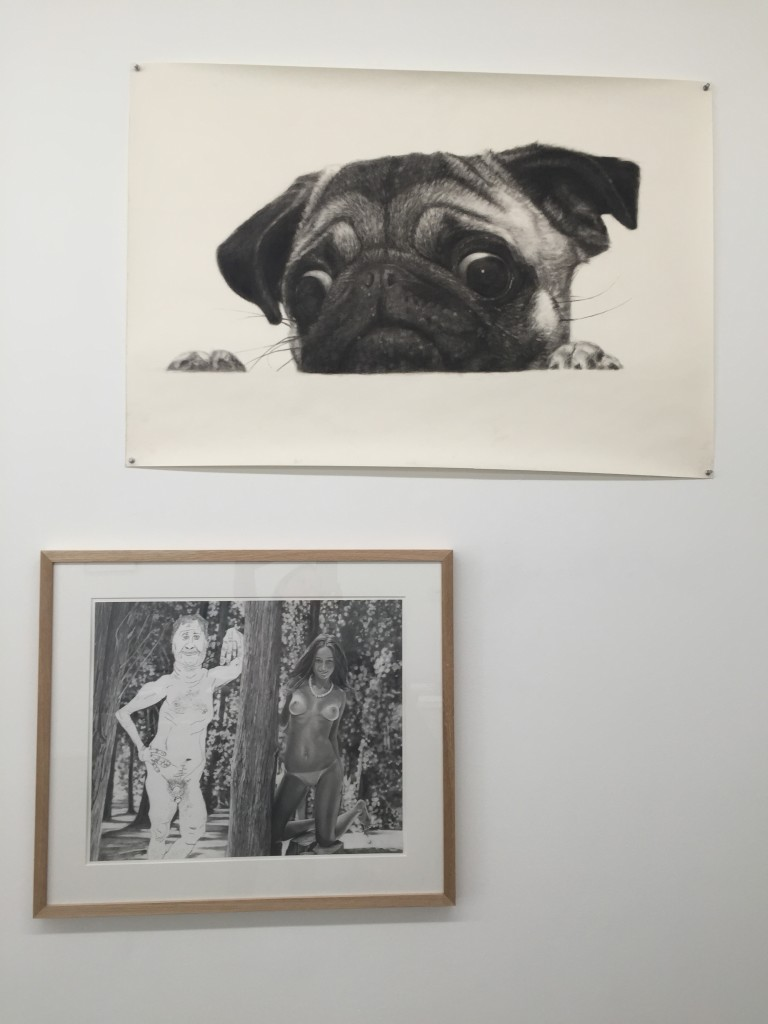 top: John Geary,Pug (looking) 2013 Charcoal on Paper,29 x 39 inches bottom: Colin Cook (with Bill Shambaugh), Portrait of the Artist with a Pretty Girl (Tree) 2015,Pencil and Graphite Powder on Paper,17 3/8 x 21 1/4 inches