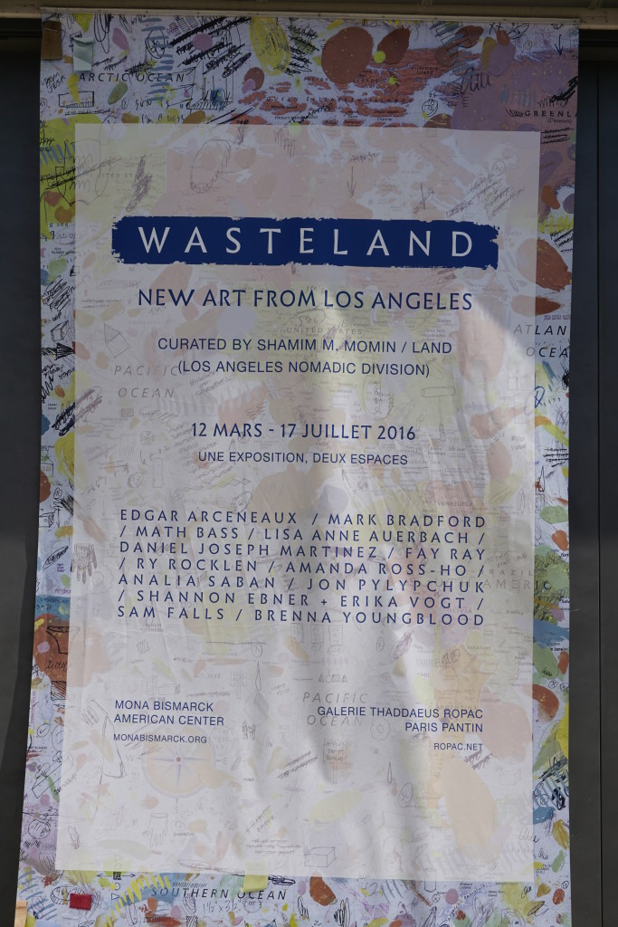 Wasteland Poster with text superimposed on Amanda Ross Ho's 'World Map'