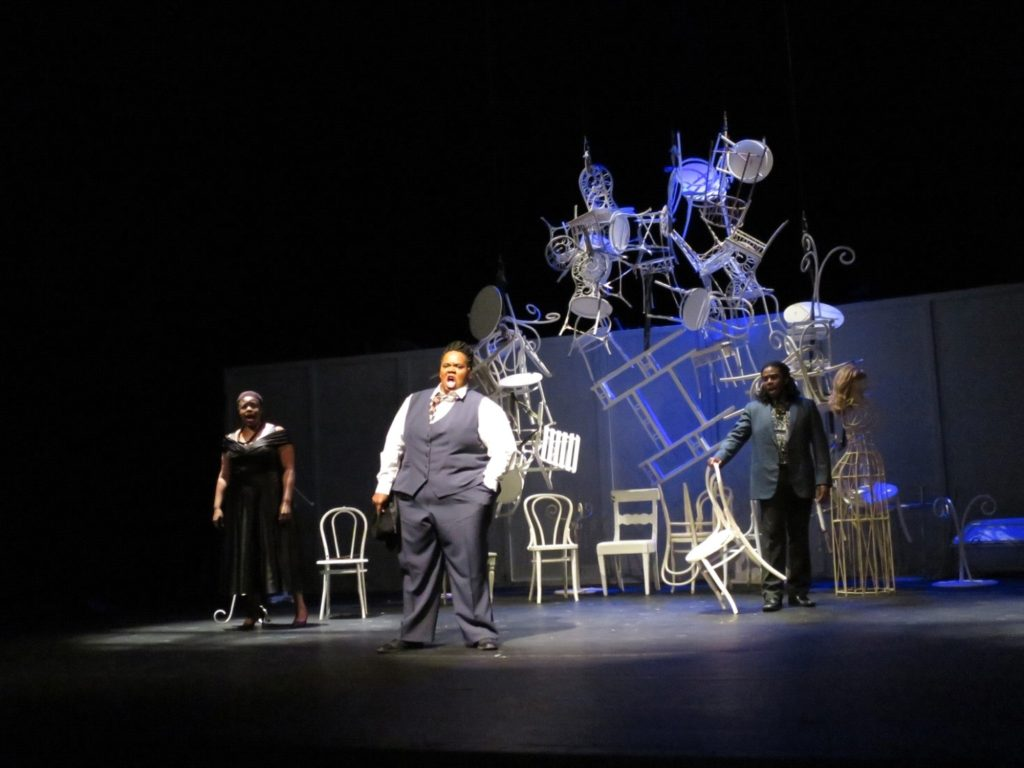 Sean Griffin, The Naming Scene from Act 2 of Sean Griffin's production of George Lewis's Afterword at the Jiří Myron Theatre, Ostrava Days, The Czech Republic, 2015. Photo by the artist